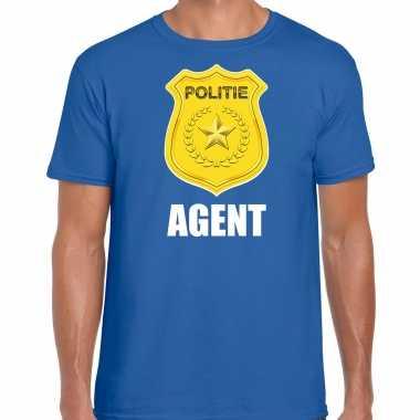 Agent politie embleem carnaval t shirt blauw heren kostuum
