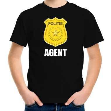 Agent politie embleem carnaval t shirt zwart kinderen kostuum