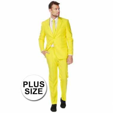 Carnaval  Big size heren kostuum geel