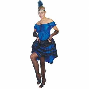 Blauwe carnaval salsa jurk kostuum