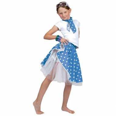 Carnaval  Blauwe fifties rok meiden kostuum