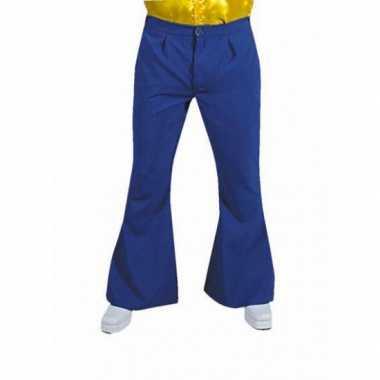 Carnaval  Blauwe hippie heren broek kostuum