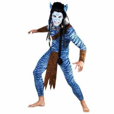 Carnaval  Blauwe jungle strijder kostuum mannen