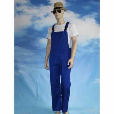 Carnaval blauwe tuinbroek kinderen kostuum