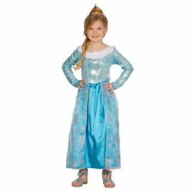 Carnaval  Blauwe verkleed prinsesjurk kostuum