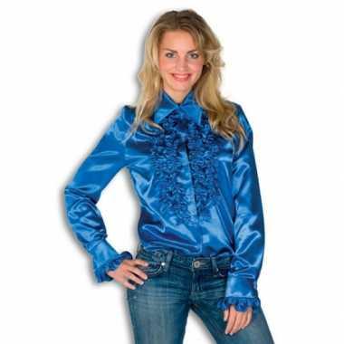 Carnaval  Blouse blauw rouches dames kostuum