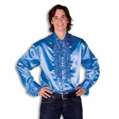 Carnaval  Blouse blauw rouches heren kostuum