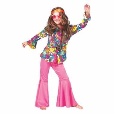 Carnaval  Blouse hippie bloemen kinderen kostuum