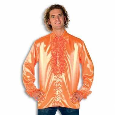 Carnaval  Blouse oranje rouches heren kostuum
