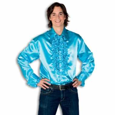Carnaval  Blouse turquoise rouches heren kostuum