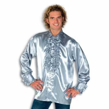 Carnaval  Blouse zilver rouches heren kostuum