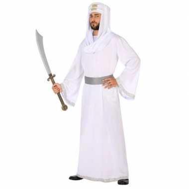 Carnaval/feest arabische strijder/prins hassan verkleedpak wit/zilve