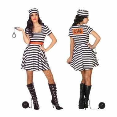 Carnaval/feest boeven/gevangenen bonnie verkleedpak jurkje dames kos