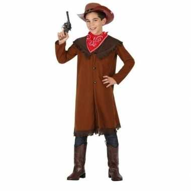 Carnaval/feest bruine cowboy john verkleedpak jongens kostuum