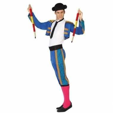 Carnaval/feest matador/stierenvechter verkleedpak blauw dames/heren