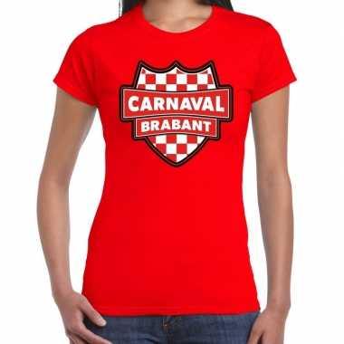 Carnaval verkleed t shirt brabant rood voor dames kostuum