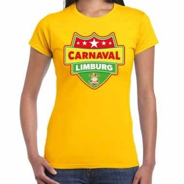 Carnaval verkleed t shirt limburg geel dames kostuum