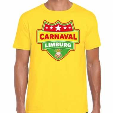 Carnaval verkleed t shirt limburg geel heren kostuum