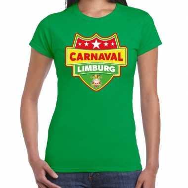 Carnaval verkleed t shirt limburg groen dames kostuum
