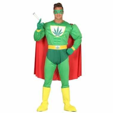 Carnavalskostuum gespierde superheld marihuana man groen