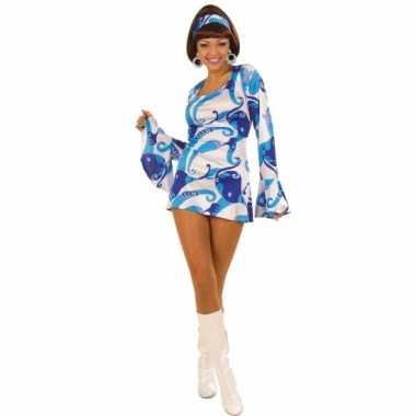 Carnavalskostuum Hippie jurk dames blauw