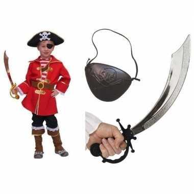 Carnavalskostuum kapitein piraat kids