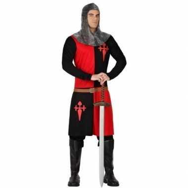 Carnavalskostuum middeleeuwse ridder zwart/ rood heren