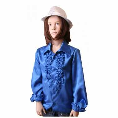Carnavalskostuum rouches kobaltblauw kinderen