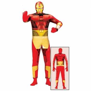 Carnavalskostuum superheld rood/goud volwassenen