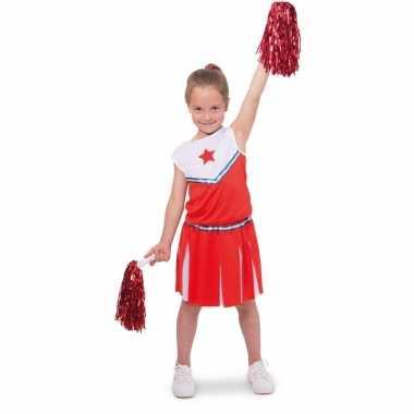 Carnaval cheerleader kinder verkleedset rood/wit kostuum