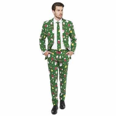 Carnaval compleet kostuum kerst print groen