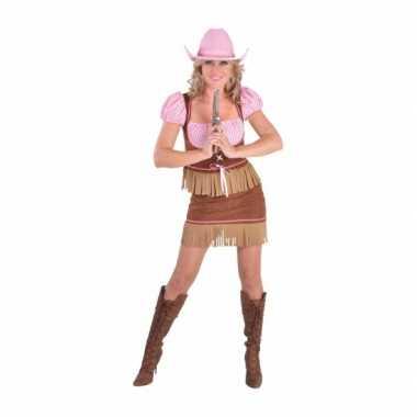 Carnaval  Cowgirl kostuum bruin roze