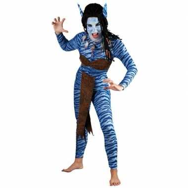 Carnaval  Dames Blauwe jungle strijdster kostuum