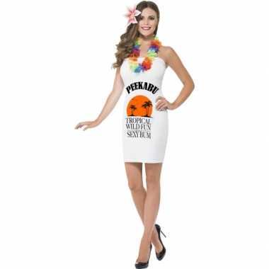 Carnaval  Dames jurkjes wit drank label peekabu kostuum