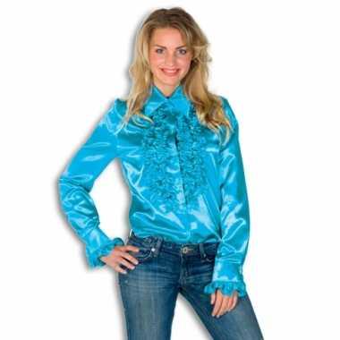 Carnaval  Dames overhemd blauw rouches kostuum