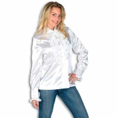 Carnaval  Dames overhemd wit rouches kostuum