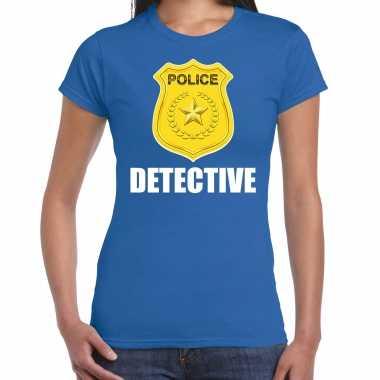 Carnaval detective police / politie embleem t shirt blauw dames kostuum