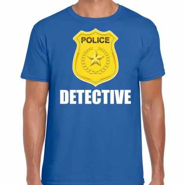 Carnaval detective police / politie embleem t shirt blauw heren kostuum