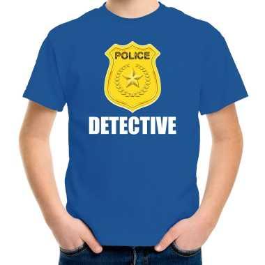 Carnaval detective police / politie embleem t shirt blauw kinderen kostuum