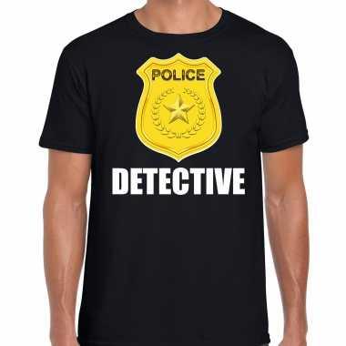 Carnaval detective police / politie embleem t shirt zwart heren kostuum