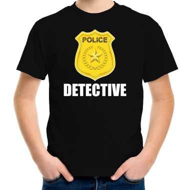 Carnaval detective police / politie embleem t shirt zwart kinderen kostuum