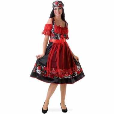 Carnaval  Dirndl jurkje rood zwart kostuum