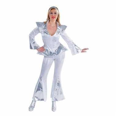 Carnaval  Disco kostuum dames wit/zilver