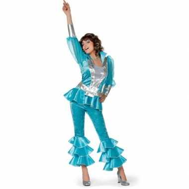 Carnaval  Disco pak dames blauw kostuum