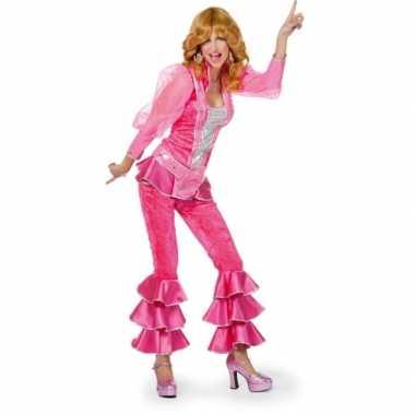 Carnaval  Disco pak dames roze kostuum