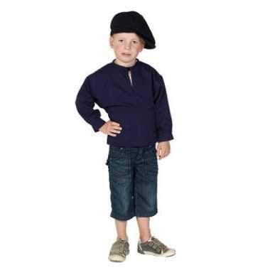 Carnaval  Donkerblauwe kinder boeren kiel kostuum