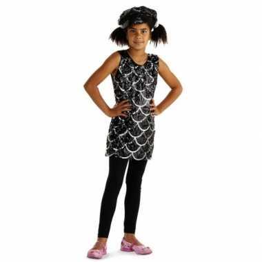Carnaval  Feestjurkje zwarte glitters meiden kostuum