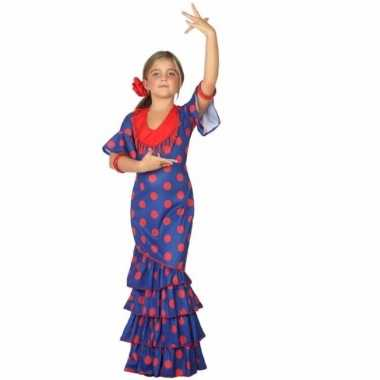 Carnaval flamenco jurk blauw polkadots kostuum