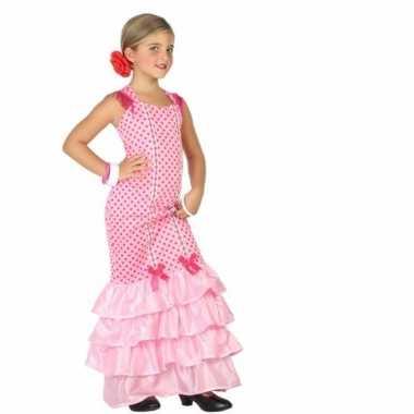 Carnaval flamenco jurk roze polkadots kostuum