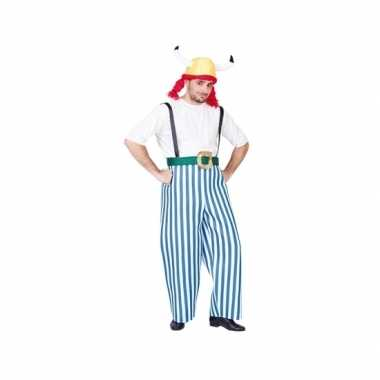 Carnaval gallier pak blauw/wit heren kostuum